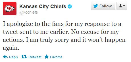 KC Chiefs twitter apology